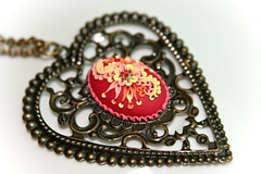 scarlet pendant (Chili Crab) Tags: flowers red summer orange yellow one spring chili heart crystal handmade ooak crab jewelry kind fimo clay valentines etsy brass 2009 pendant filigree polymer swarovsky