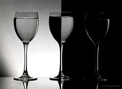 Black and White.... (ICT_photo) Tags: blackandwhite stilllife white ontario black water glass wine guelph half halves ianthomas ictphoto