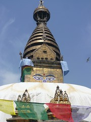 Swayambhunath, Katmandu, Nepal (balavenise) Tags: nepal eyes shrine god buddha stupa prayer religion buddhism yeux prayerflags katmandu swayambhunath prire devnagari  flickrgiants