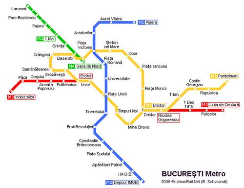 Harta metro bucuresti - Metrorex