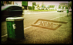 ATM - (21/365) (Miky_P) Tags: milan car photoshop strada oldstyle milano streetphotography busstop oldphoto aged atm htc fermata invecchiata digitalcameraclub project365 michelepincanelli