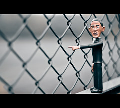 US President Barack Obama Says He Likes Fence Too... =) (©Komatoes) Tags: man blur fence person 50mm us blurry nikon bokeh president devon exeter politician nikkor obama ludwell barackobama barack 50mmf18 d40 nikond40