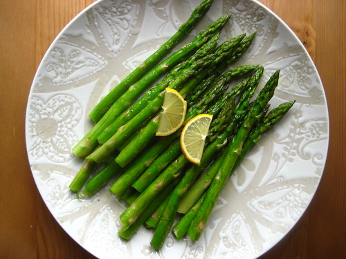 asparagus drizzled with lemon.