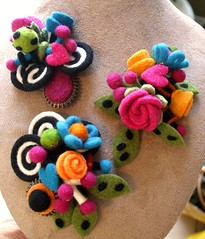 Getting a bit fussy (woolly  fabulous) Tags: flower wool felted colorful pin recycled handmade brooch felt corsage reclaimed