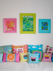 Framed in 70s fabrics (PinkFriday) Tags: pink flowers green art bed turqouise retro pillows colourful lime owls 70s stringhylla