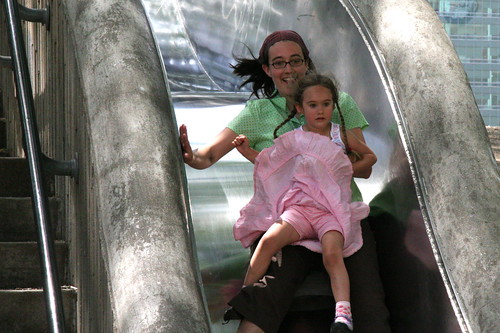 big slide w/mommy