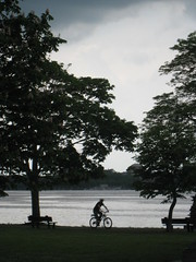 Storm Coming (historygradguy (jobhunting)) Tags: trees people water bicycle silhouette boston river ma person candid massachusetts charlesriver newengland biking esplanade biker mass