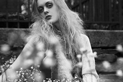 (bye bye ) Tags: flowers blackandwhite bw nature fashion pose fur photoshoot bokeh modeling background fake makeup posing plastic faux simple bg softly nothingspecial blurryness crazyhairstyle magicp
