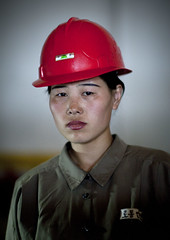 Worker in North Korea (Eric Lafforgue) Tags: pictures woman photo mujer war asia femme helmet picture korea kimjongil asie coree northkorea pyongyang casque dprk coreadelnorte kimilsung nordkorea 3297 lafforgue    coredunord coreadelnord  northcorea coreedunord  insidenorthkorea  rpdc  coriadonorte  kimjongun coreiadonorte