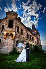 A Dream (vasi v) Tags: blue wedding sky white black green tower castle grass clouds bride photo couple foto fotografie dress towers ruin dramatic suit session drama fortress poze poza baiamare maramures vasi nunta nunti teleki fotografii gromm strobist sesiune vasut satulung pribilesti vasivasut
