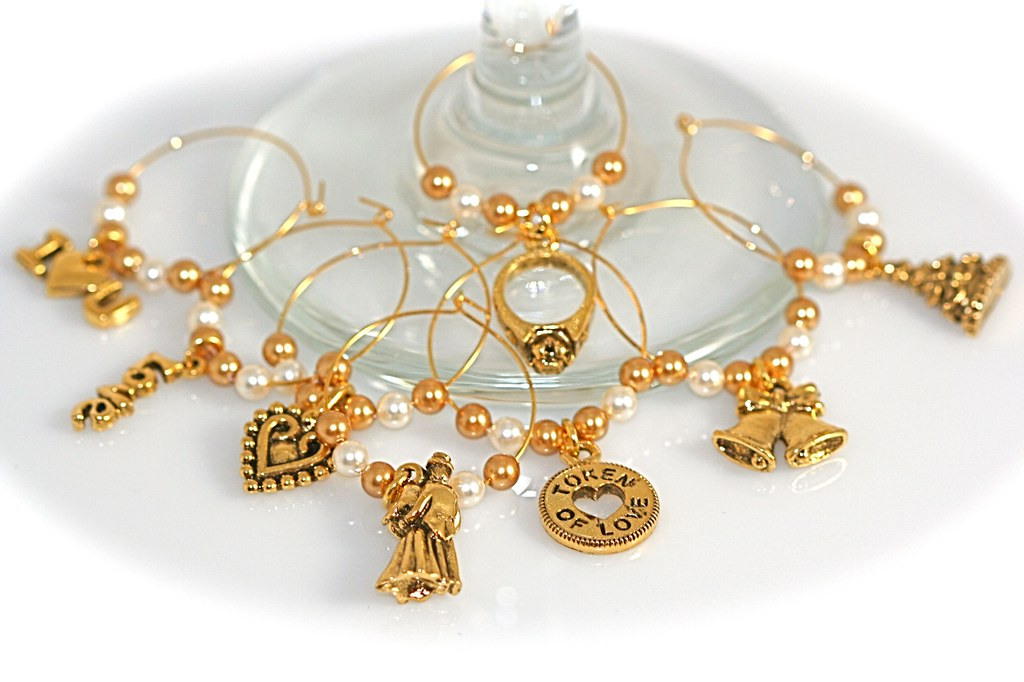 Antiqued Gold Wedding Wine Glass Charms