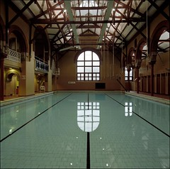 Public baths (quixotic54) Tags: colour 120 6x6 film public pool club zeiss swimming mediumformat scotland edinburgh kodak 66 hasselblad swimmingpool squareformat carl baths 40mm portra distagon 500cm cfe 160nc drumsheugh nikonsupercoolscan9000ed drumsheughbathsclub