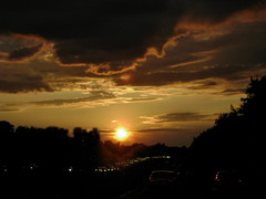 Atlantic City Expressway at sunset (moocatmoocat) Tags: new sunset philadelphia silhouette atlanticcity jersey expressway
