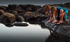 Tide Pool in The Evening (stryderphoto) Tags: ocean sea beach nikon calm pacificocean learning lowtide amazement danapoint tidepools curiosity californiacoast calmwater d40 danapointharbor idontwanttogohome exposedrocks