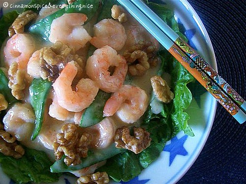 Spicy Honey Walnut Shrimp w/ Snow Peas