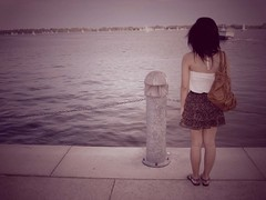 Waiting For You (gooobers) Tags: water boat alone lakeshore vignette floralskirt lonelyfigure foreverxxi