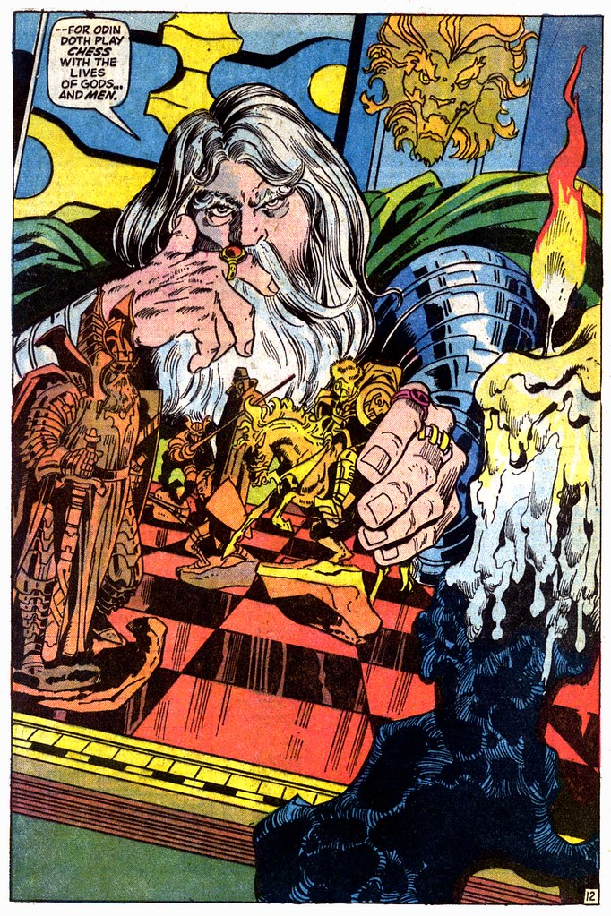 Odin plays with his Norse Gods Franklin Mint chess set, from Thor #202 by Gerry Conway and John Buscema