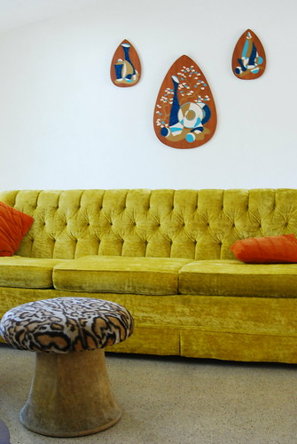 vintage yellow velvet sofa