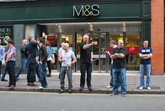 Style at M&S (Steve J O'Brien) Tags: cameraphone city england urban men fashion cheshire bald streetphotography documentary style chester jeans baldmen newchester