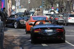 Audi R8 GT Spyder - Aston Martin V8 Vantage - Aston Martin DB9 Volante (Kristof E.) Tags: orange black martin spyder gt audi dsseldorf v8 aston volante vantage r8 db9