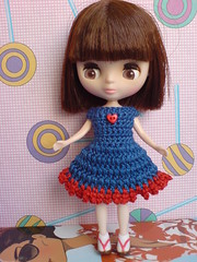 Petite Blythe Crochet Dress Colour Expression Blue/Red