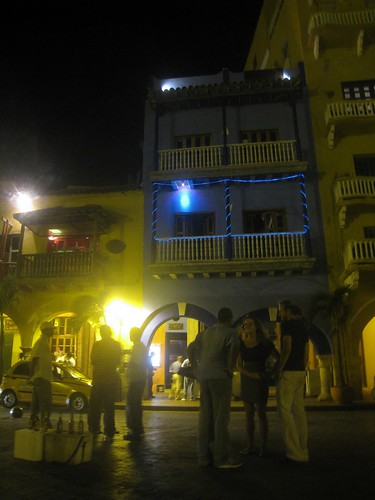 Outside a club in the old part of Cartagena