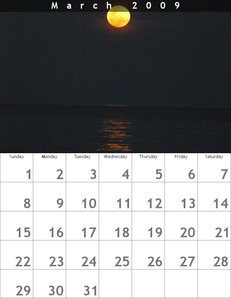 calendrier mars 2009