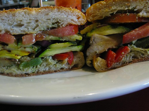 char-broiled veggie sandwich with pesto on french bread!