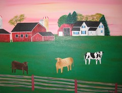 Sunset On The Farm (jessicatheartist) Tags: cambridge sunset ontario cute painting acrylic cows farm unique silo gras