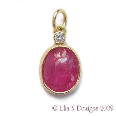 Pink Sapphire & Diamond 18k Gold Pendant
