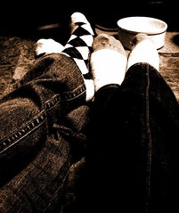 Socks (Silent Orchestra) Tags: light blackandwhite bw feet socks sepia dark legs bright argyle argylesocks silentorchestra laughlovehope dottedsocks
