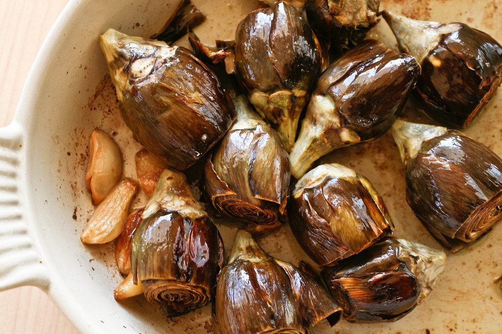 Roasted Baby Artichokes & Garlic