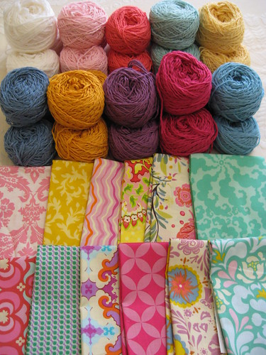 Yarn and fabric to become blankets and quilts by you.