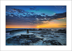Survey Marker (The Sage of Shadowdale) Tags: ocean morning sky colors clouds sunrise d50 dawn early rocks colours australia nsw marker centralcoast survey hdr blend bluebay 1224mmf4 toowoonbay