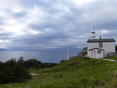 Newfoundland Lighthouse (sillygooseshell) Tags: ocean sky lighthouse green grass clouds newfoundland lobstercove