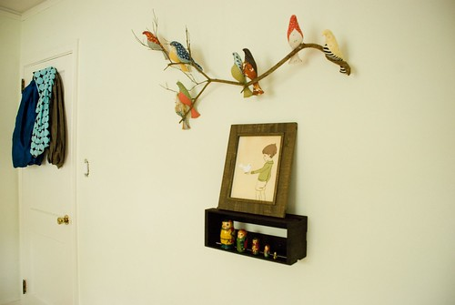 finn's room :: mama-made bird branch, belle and boo print, russian nesting dolls, a glimpse at our sling collection