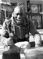 """""""the bucket man"""" (giggie larue) Tags: sanfrancisco portrait blackandwhite streetportrait stranger giggie larryhunt sfspring09 wasinthepursuitofhappynesswithwillsmith downtownfixture"""