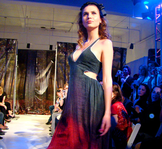 PED Runway Show: Deep Waters gown by Melissa Kirgan (Eko-Lab), eco fashion show, eco fashion , green fashion, eco project runway, green project runway, green fashion show