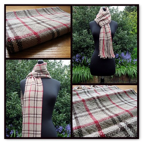 Red and Brown Plaid Scarf for Leo