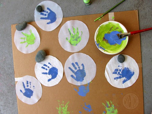 painted handprints on fabric