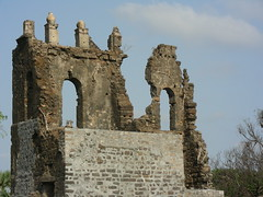 Cathedral remains: photo from the fort wall (Vinay Bavdekar) Tags: india trek ruins maharashtra forts vasai coolpixs4 seaforts westernindia vasaifort portugueseforts