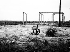 8 months after Hurricane Ike, Bolivar Peninsula, Texas 0502091639BW (Patrick Feller) Tags: wheelchair hurricane ike aftermath debris bolivar peninsula texas united states north america