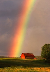 Somewhere Over the Rainbow (Henri Bonell) Tags: sunset field barn finland evening rainbow shed mywinners lateeveningsun platinumphoto colorphotoaward superaplus aplusphoto henribonell platinumheartaward friendsplatinumheartaward