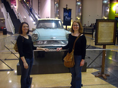 Apryl and Steph with Flying Ford Anglia from Harry Potter