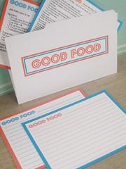 Good Food Recipe Cards & Folder (Whisker Graphics) Tags: blue orange recipe file card pdf recipes folder template printable