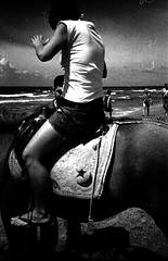 rollei_f100_17 (mariczka) Tags: friends sea blackandwhite bw horse sunlight film girl contrast analog turkey noir side grain rangefinder 40mm blanc blancinegre f23 rolleixf35 brz autaut vintageanalogue nilebeach rolleitrkiyeseries