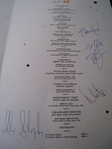 Autographed menus