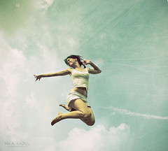 Good Morning Lucy (Nika Fadul) Tags: sky texture girl happy jump glow release free pajamas monicafadul nikafadul