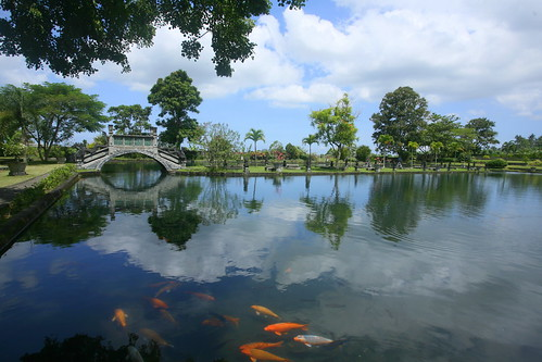 Tirta Gangga pool with koi- bridge at background