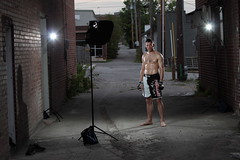 Jeremy: MMA Fighter in the Alley Setup (budrowilson) Tags: canon alley vivitar 285 broadst mma 70200f28 mixedmartialarts 50d 285hv alzo cybersyncs